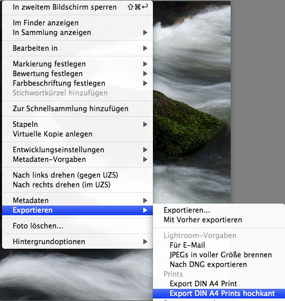 Exportmenü von Adobe Lightroom